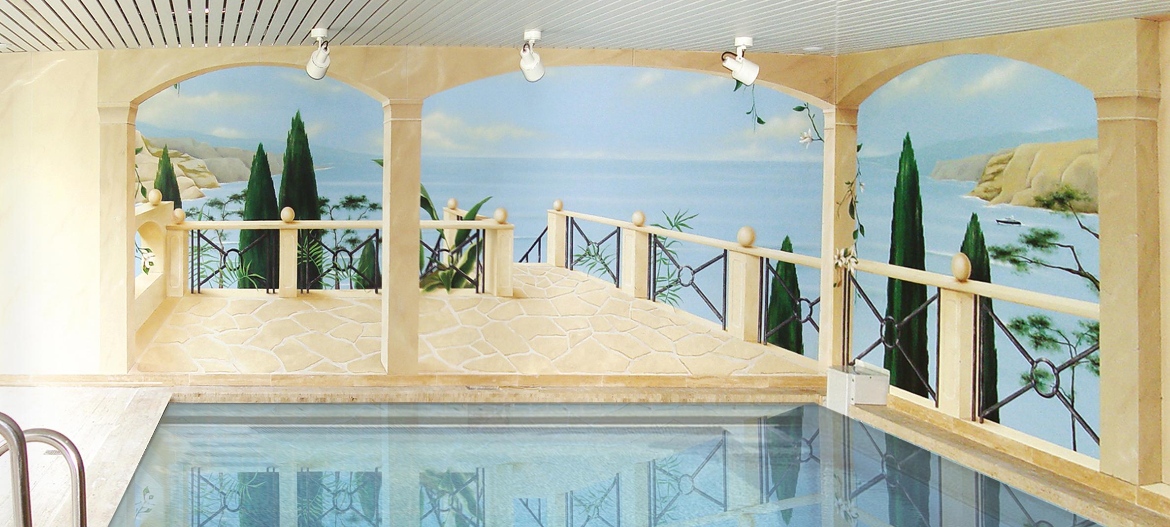 Mediterrane Wand Kunst Am Pool
