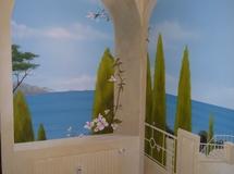 Wandbemalung als Illusionsmalerei mediterrane Landschaft mit Garten